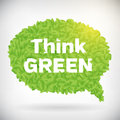Ecology think green speech bubble leaf illustration isolated from background layered Royalty Free Stock Images