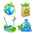 Ecology and waste icons set Royalty Free Stock Photo