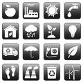 Ecology web buttons icons set Stock Image