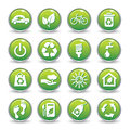Ecology web icons green buttons icon set Royalty Free Stock Photos