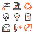 Ecology web icons, orange and gray contour series Stock Images