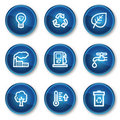 Ecology web icons set 1, blue circle buttons Royalty Free Stock Images