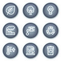 Ecology web icons set 1, mineral circle buttons Royalty Free Stock Photos