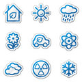 Ecology web icons set 2, blue contour sticker Royalty Free Stock Image