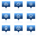 Ecology web icons set 2, blue speech bubbles Stock Photos