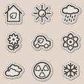 Ecology web icons set 2, brown contour sticker Royalty Free Stock Images