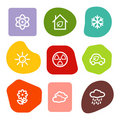 Ecology web icons set 2, colour spots series Royalty Free Stock Photo