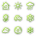 Ecology web icons set 2, green contour sticker Stock Photos