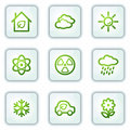 Ecology web icons set 2, white square buttons Stock Images