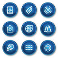 Ecology web icons set 3, blue circle buttons Stock Image