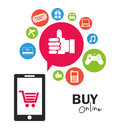 Ecommerce design over lineal background illustration Royalty Free Stock Photo
