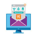 Ecommerce email marketing vector concept in flat style Royalty Free Stock Photo