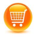 Ecommerce icon glassy orange round button