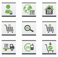 Ecommerce icons set green and dark grey Stock Photos