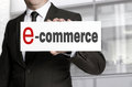 Ecommerce sign held by businessman Royalty Free Stock Photo