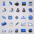 Economic blue stickers icons for web design Stock Images