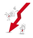 Economic crisis and the businessman joe is falling off red arrow its a métaphor of Royalty Free Stock Images