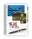 Economic crisis notebook concept of global Stock Image