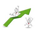 Economic growth and the businessman joe business man is running on a green arrow its a metaphor of good results development Stock Photo