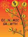 Economic growth cover illustration abstract firework money coin tree design Stock Photos