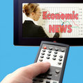 Economic news on tv Royalty Free Stock Photography