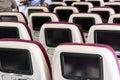 Economy class airplane interior. Royalty Free Stock Photo