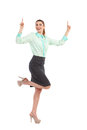 Ecstatic businesswoman shouting raising hands and pointing up full length studio shot isolated on white Royalty Free Stock Photos