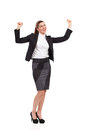 Ecstatic businesswoman in suit shouting black raising hands full length studio shot isolated on white Royalty Free Stock Photography