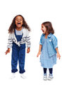 Ecstatic children adorable and girls in casual wear Stock Images