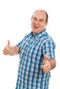Ecstatic man thumbs up happy gesturing isolated on white background Stock Photography