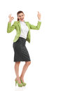 Ecstatic mid adult woman showing ok sign shouting business full length studio shot isolated on white Royalty Free Stock Photo