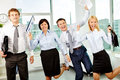 Ecstatic office workers white collar having fun in Royalty Free Stock Images