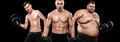 Ectomorph, mesomorph and endomorph . Before and after result. Sport concept. Group of three young sports men - fitness models hold Royalty Free Stock Photo