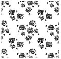 Ector ink floral seamless pattern. Modern seamless pattern. Black and white texture in brush template. Grunge pattern. Royalty Free Stock Photo