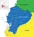 Ecuador map highly detailed vector of with administrative regions main cities and roads Stock Photo