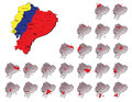 Ecuador provinces maps a set of Stock Images