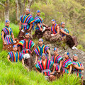 Ecuadorian folkloric group dressed up in traditional costumes outdoor shot Stock Image