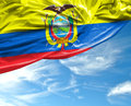 Ecuadorian waving flag on a beautiful background Royalty Free Stock Photo
