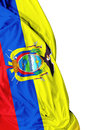 Ecuadorian waving flag on white background Royalty Free Stock Photo