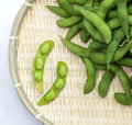 Edamame nibbles boiled green soy beans japanese food isolated white Royalty Free Stock Photos
