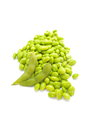 Edamame nibbles boiled green soy beans japanese food isolated on white Royalty Free Stock Photography