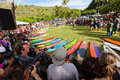 Eddie aikau traditional hawaiian opening ceremony the th annual quiksilver in memory of the original one day big wave invitational Stock Images