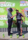 Eddie krawiec wins at sonoma holds his wally trophy after winning raceway Stock Photography