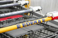 Edeka shopping carts with copy space focus is on the e infront of Royalty Free Stock Images