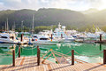 Eden island mahe seychelles boats at Royalty Free Stock Image