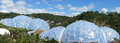 Eden Project biomes panorama in St. Austell Cornwall Royalty Free Stock Photo