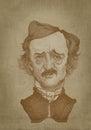 Edgar Allan Poe sepia portrait engraving style
