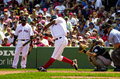 Edgar renteria boston red sox shortstop takes a might cut at the ball Stock Image