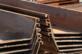 Edge detail of steel piling for docks harbours and water resisting purposes Stock Photography