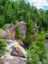 Edge of the HIgh Falls of Baptism River at Tettegouche State Par Royalty Free Stock Photo